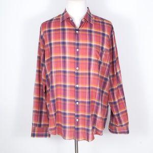 Vince Red Plaid Button Front Shirt